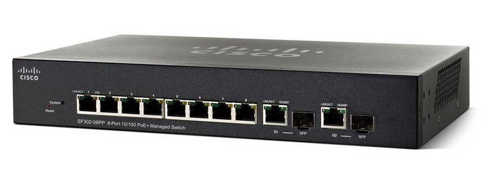 Switch mạng PoE Cisco 8 port SF302-08P