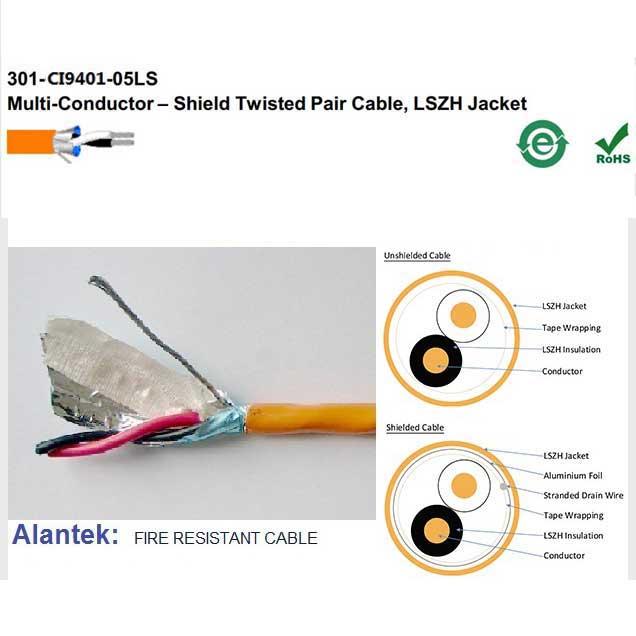 Cáp tín hiệu chống cháy 18AWG 1 Pair LSZH chống nhiễu Alantek – P/N: 301-CI9401-05LS