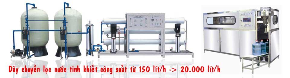 Dây chuyền sản xuất nước tinh khiết đóng bình, đóng chai