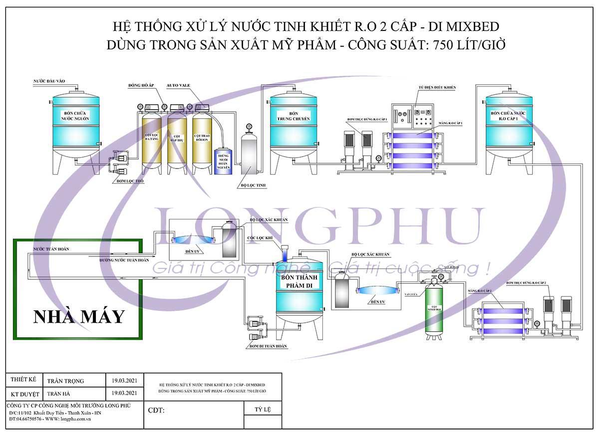 Sơ đồ nguyên lý: Hệ thống xử lý nước dùng trong sản xuất mỹ phẩm công suất 750l/h